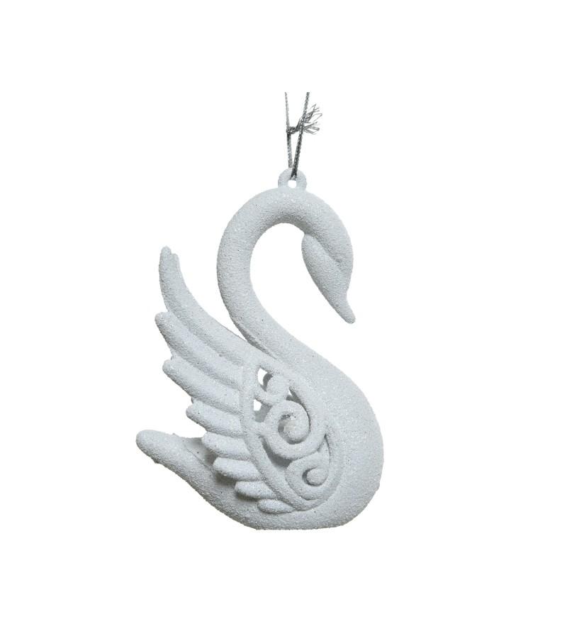 Christmas Hanging Glitter Swan 10cm White