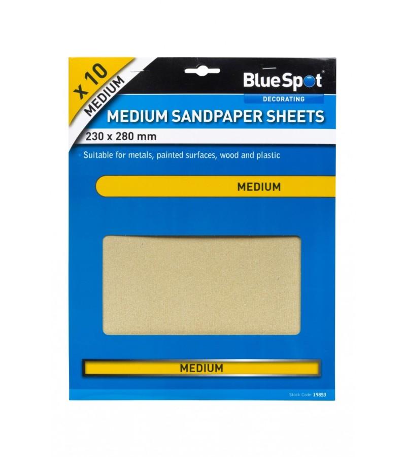 Blue Spot Medium Sandpaper (10 Pack)
