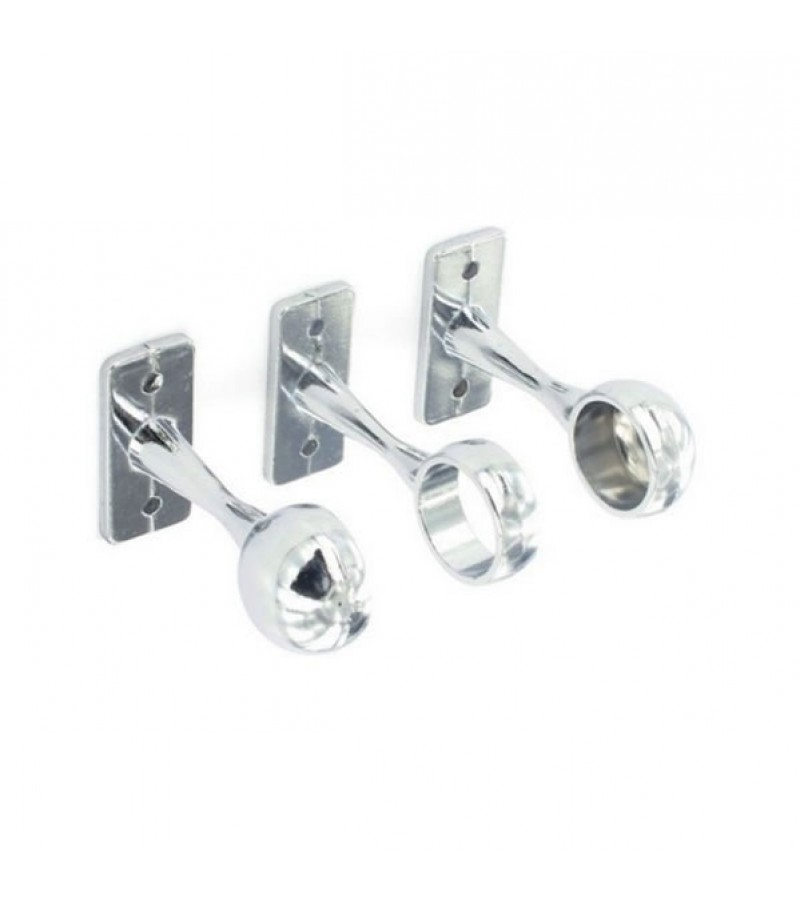 Securit S5553 Chrome Plated 1 Centre & 2 End Brackets 19mm