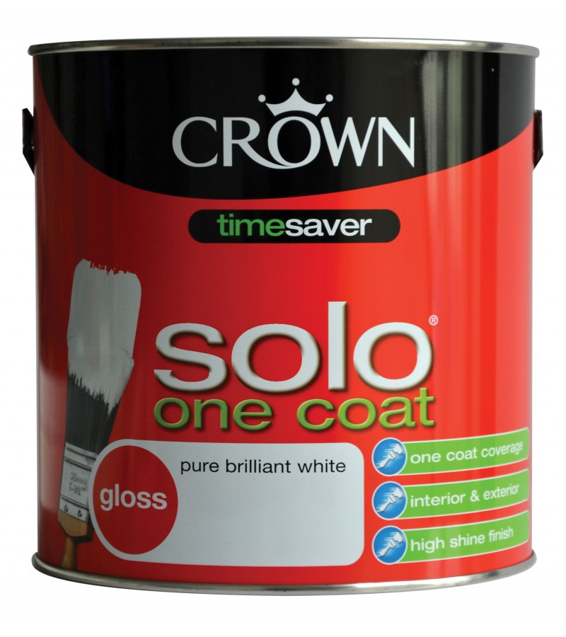 Crown Solo Gloss Paint 2.5L Pure Brilliant White