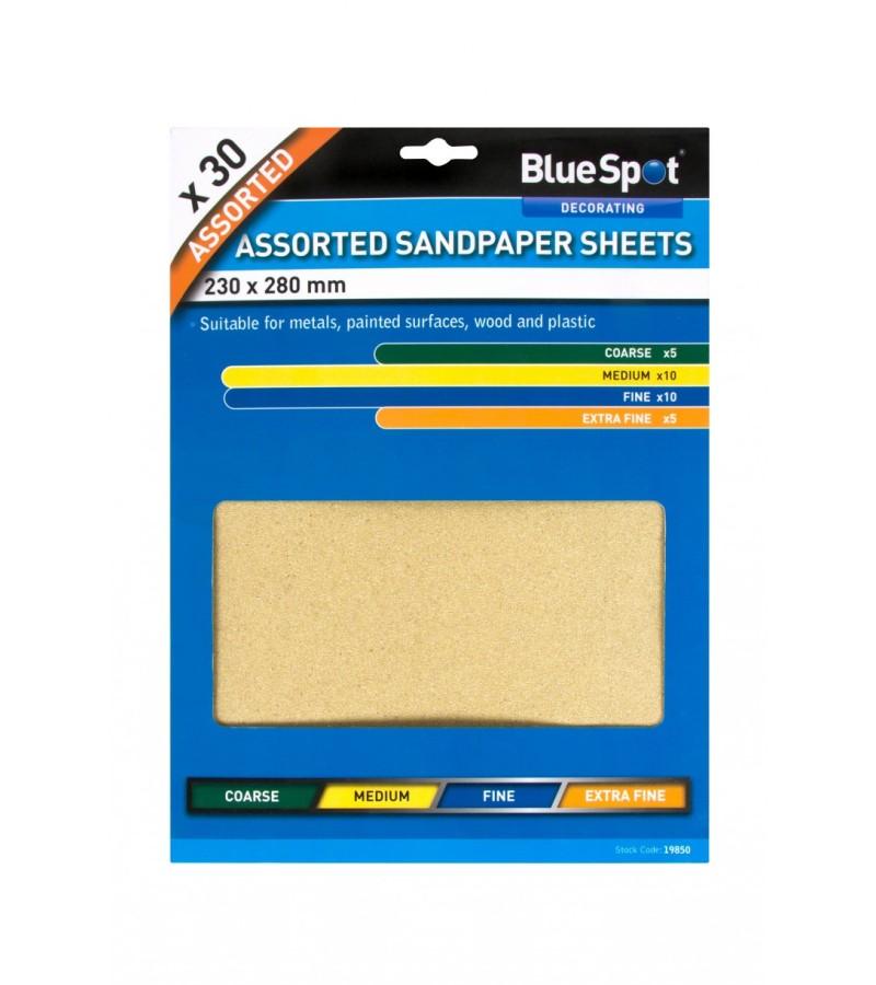 BlueSpot Sandpaper Sheets (30 Piece) Assorted