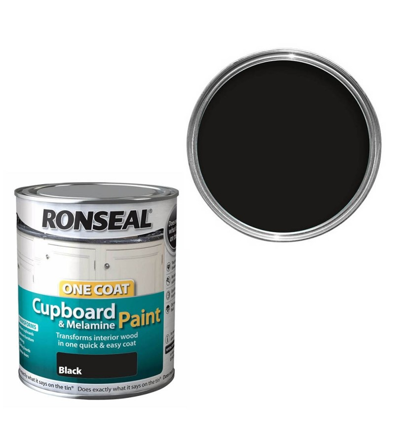 Ronseal One Coat Cupboard paint 750ml Black Gloss