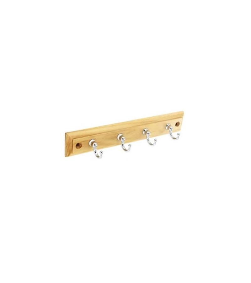 Securit S6141 4 Polished Chrome Hooks On Plaque 220mm
