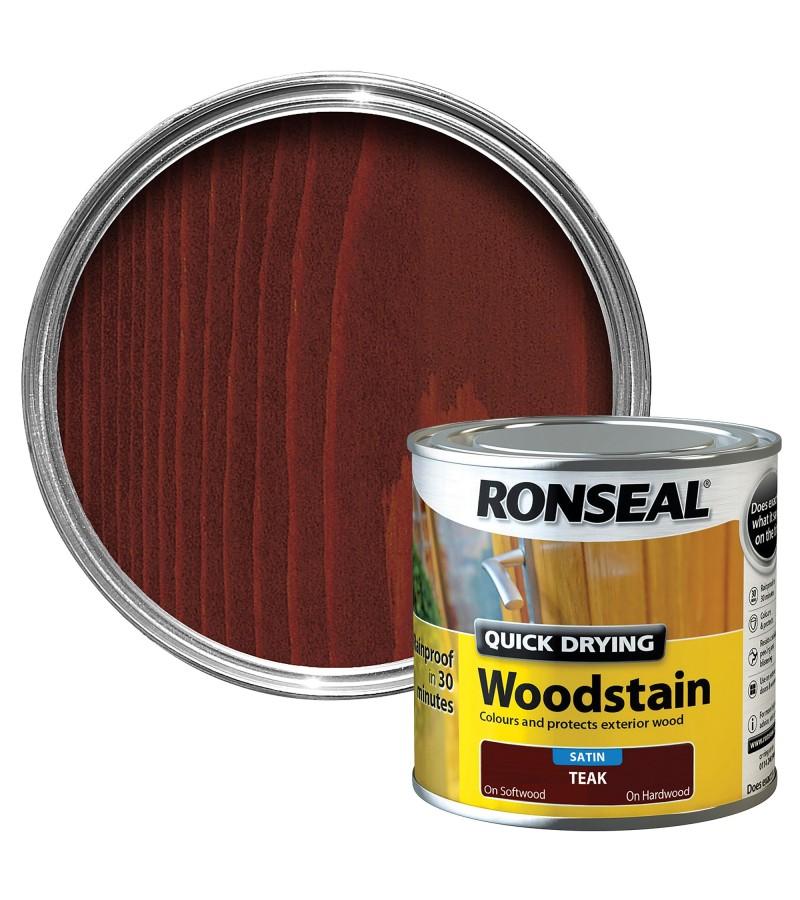Ronseal Quick Drying Wood Stain 250ml Teak Satin