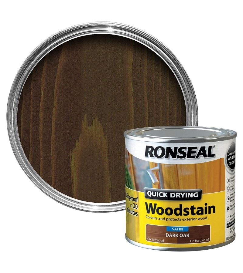 Ronseal Quick Drying Wood Stain 250ml Dark Oak Satin