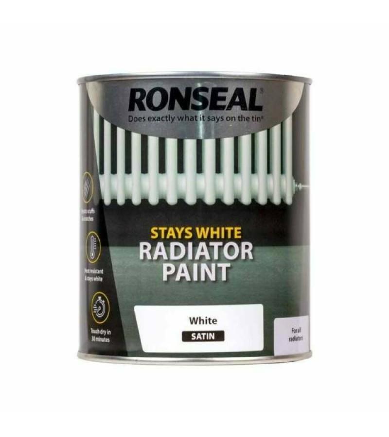 Ronseal Stays White Radiator Paint 250ml White Satin