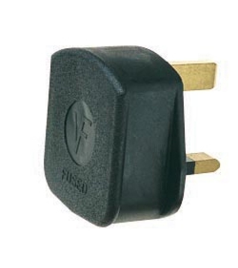 Dencon 13 Amp Black Rubber Plug (6283BNB)