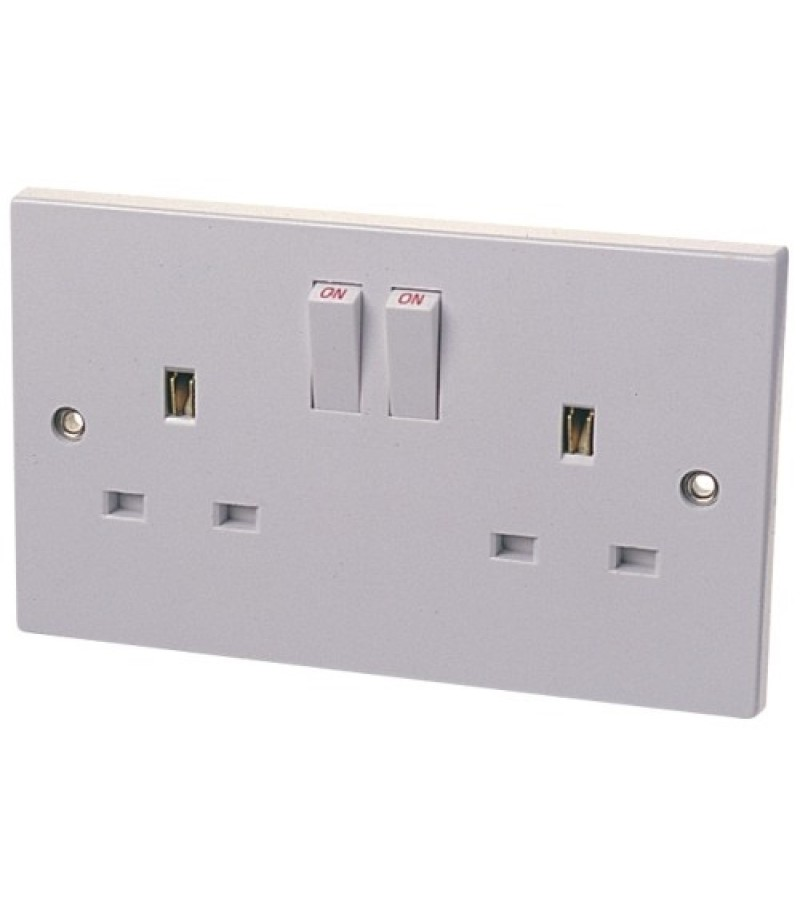 Dencon 13A 2 Gang Switch Socket White