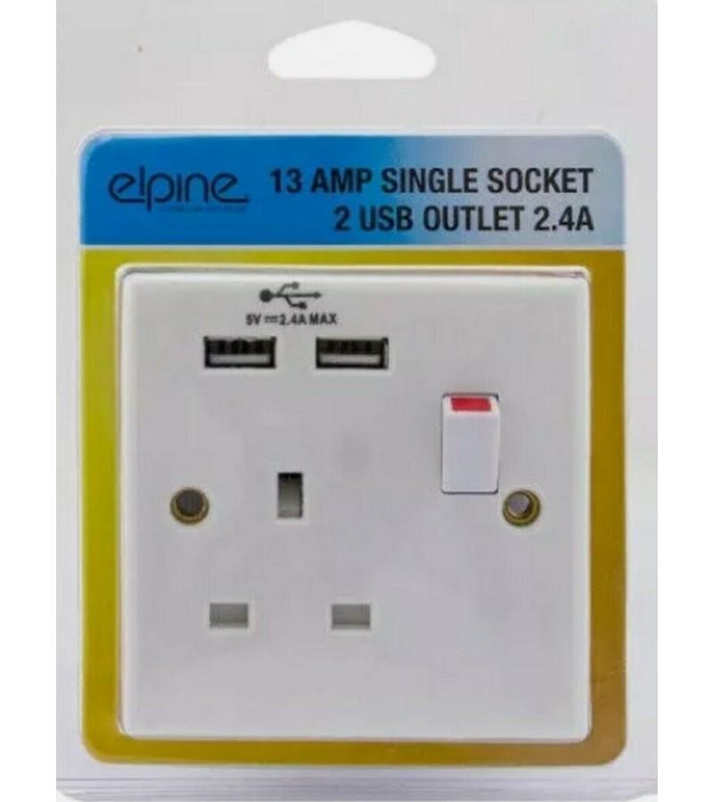 Elpine 13 Amp Single Socket with 2 USB Outlets
