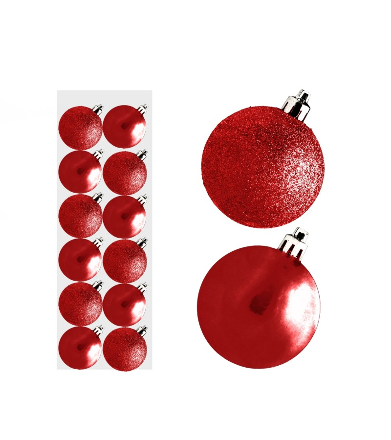 Christmas Mini Mixed Baubles 3cm (12 Pack) Red