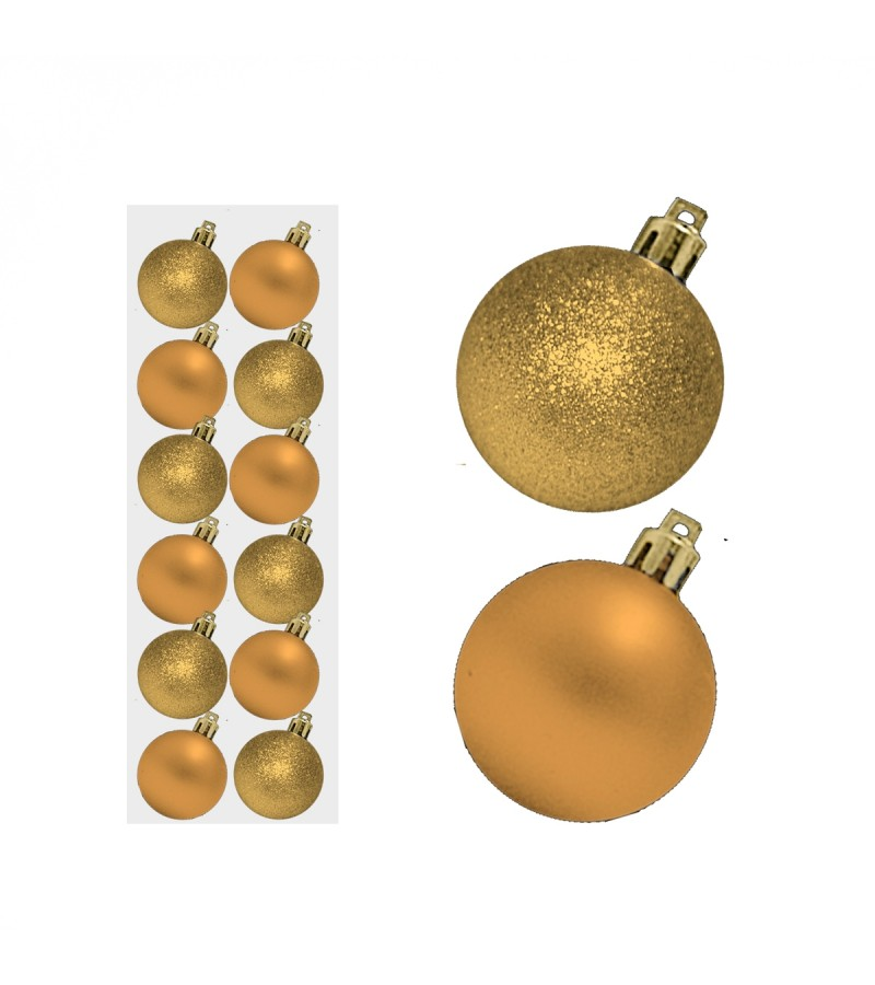 Christmas Mini Mixed Baubles 3cm (12 Pack) Gold