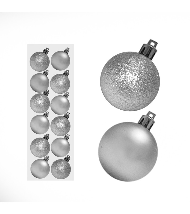 Christmas Mini Mixed Baubles 3cm (12 Pack) Silver