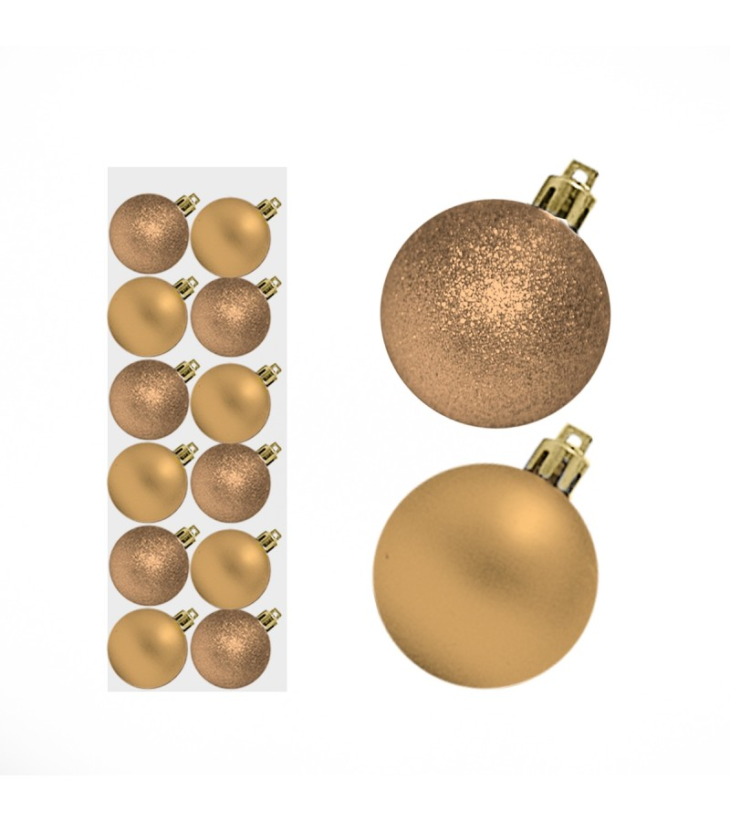 Christmas Mini Mixed Baubles 3cm (12 Pack) Champagne