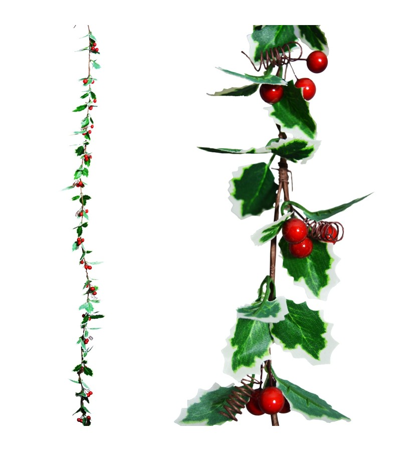 Christmas Fine Holly Garland 1.3m
