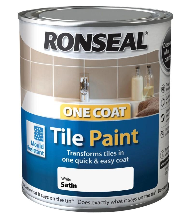 Ronseal One Coat Tile Paint 750ml White Satin