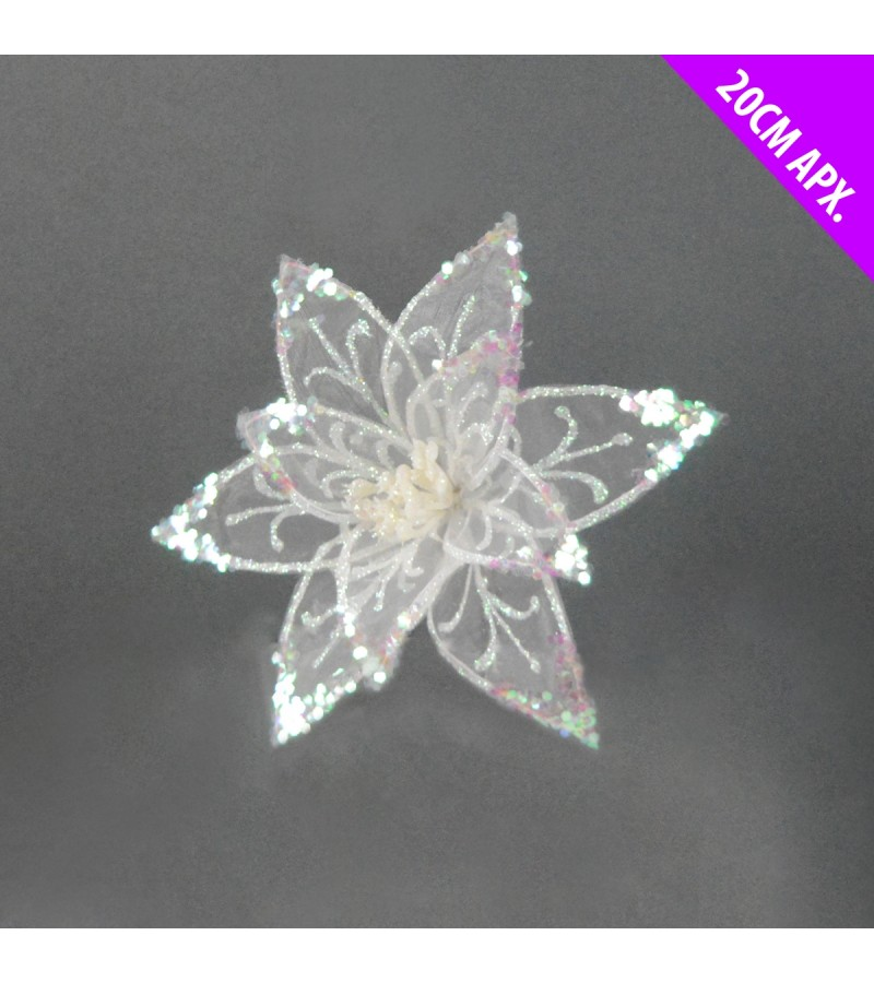 Christmas Starburst Flower 20cm White