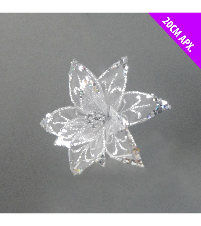 Christmas Starburst Flower 20cm Silver