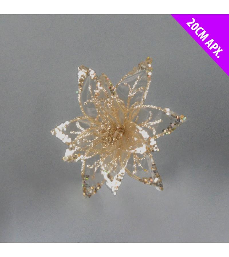 Christmas Starburst Flower 20cm Gold