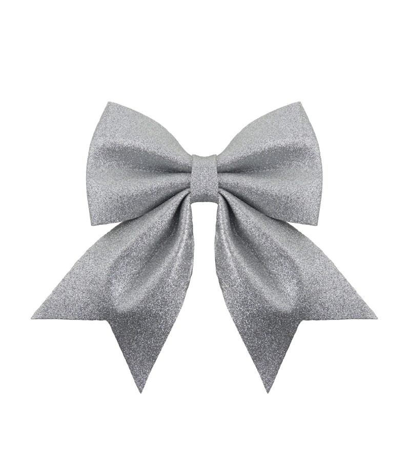 Christmas Luxe Glitter Bow Medium 25cm Silver
