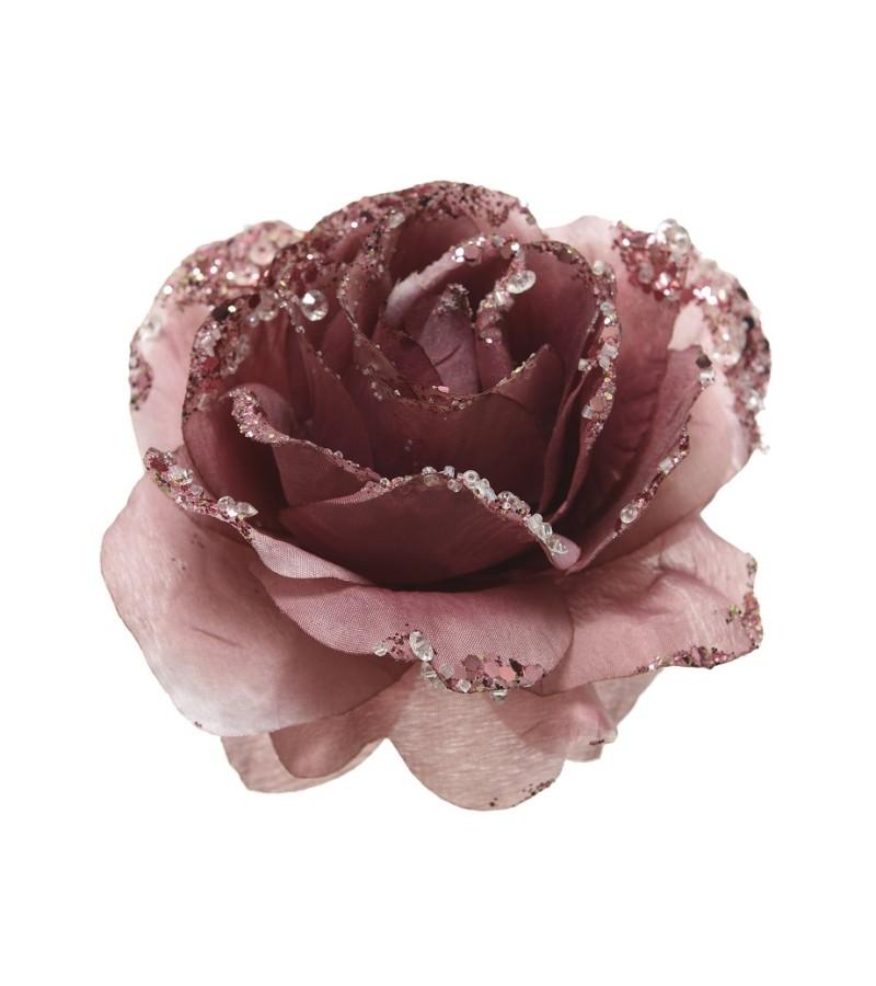 Glitter Velvet Pink Rose Clip 14cm