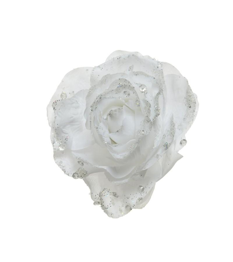 Christmas Glitter Clip Rose 14cm White