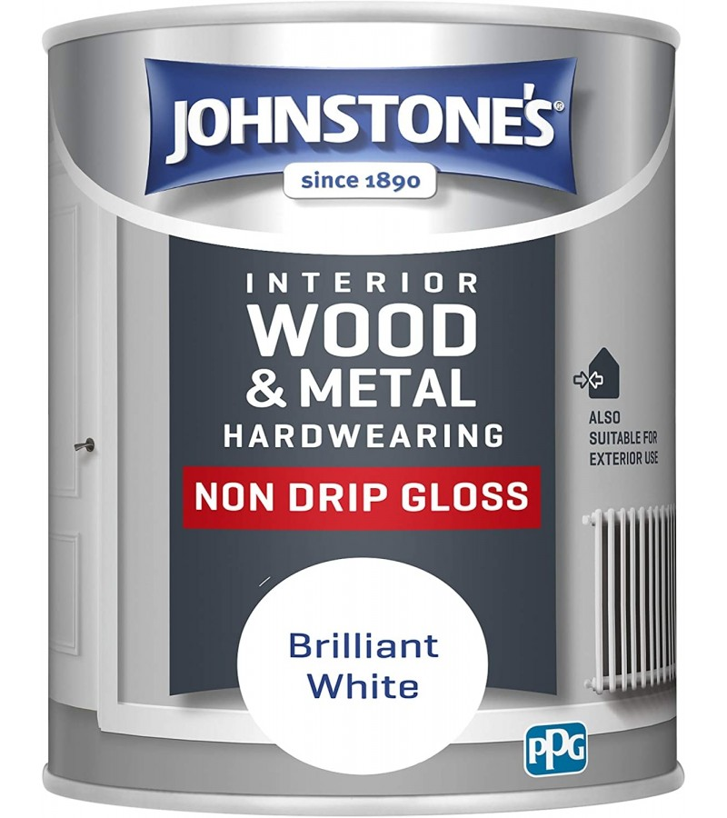Johnstones Non Drip Gloss Paint 750ml Brilliant White