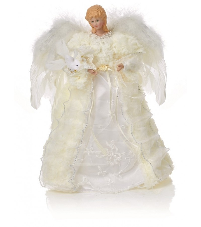 Christmas Angel Tree Topper.30cm Christmas Angel Tree Topper With Feather Wings Tony