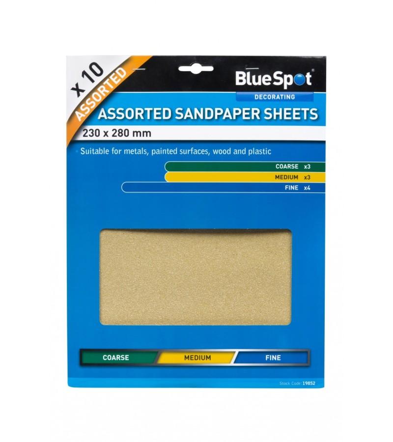 BlueSpot Sandpaper Sheets (10 Piece) Assorted