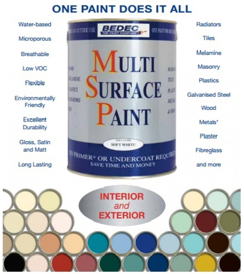 Bedec Multi Surface Paint 750ml Soft White Gloss