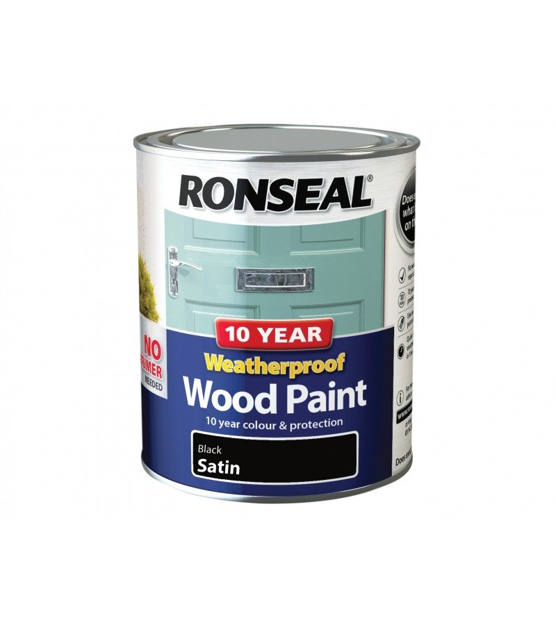 Ronseal 10 Year Weatherproof  Wood Paint Black Satin 750ml