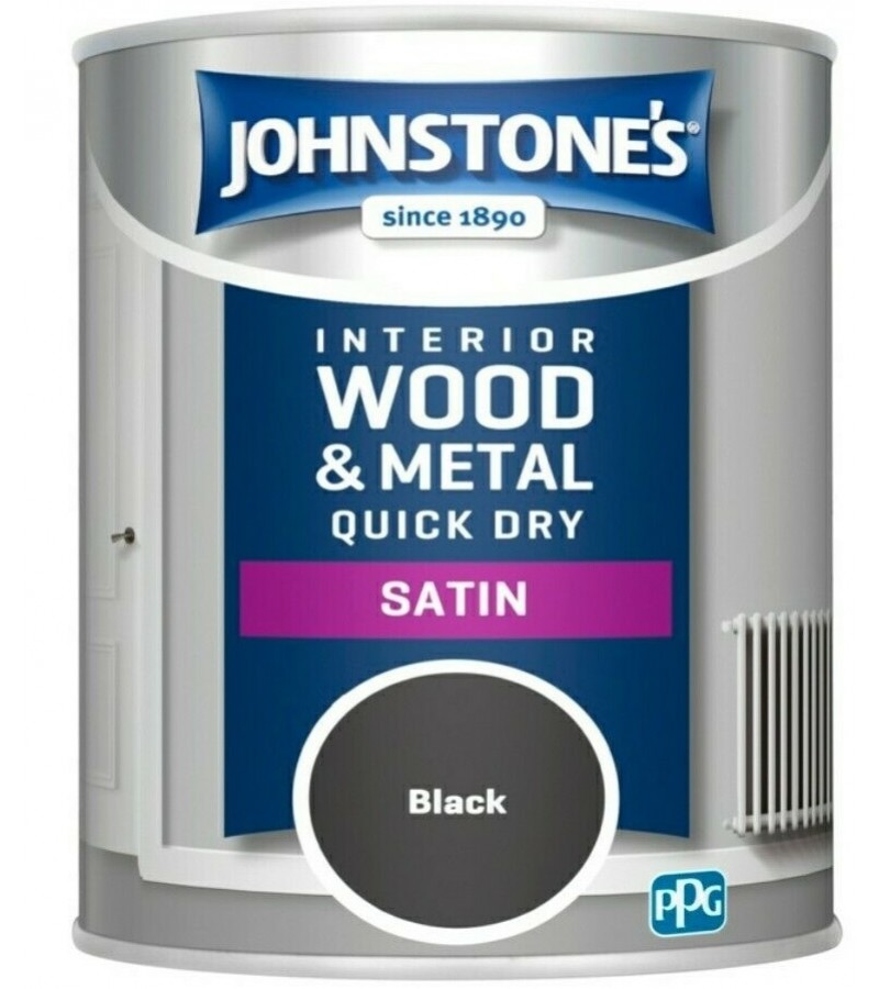 Johnstones Quick Dry Satin Paint 750ml Black