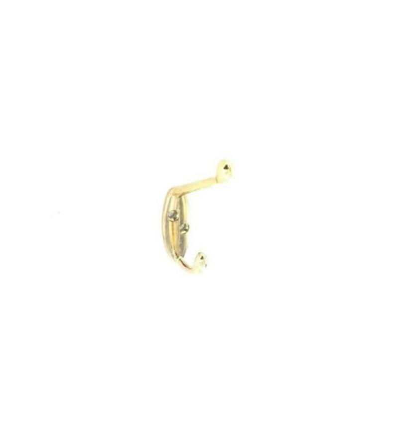 Securit S6105 Hat & Coat Hooks Brass 105mm (2 Pack)