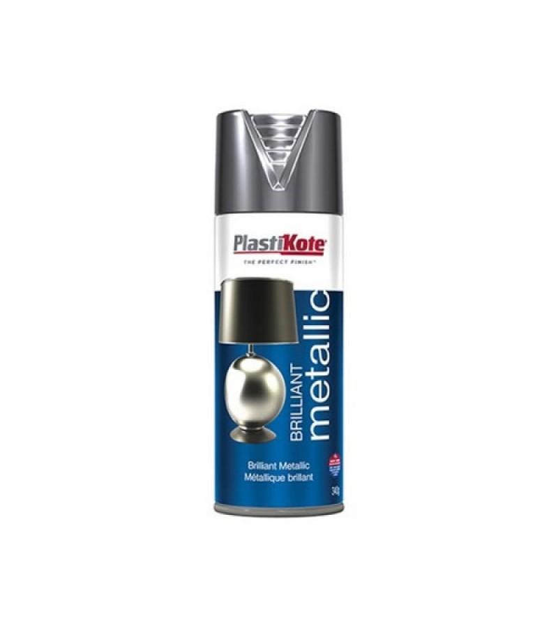 PlastiKote Brilliant Metallic Spray Paint 400ml Chrome