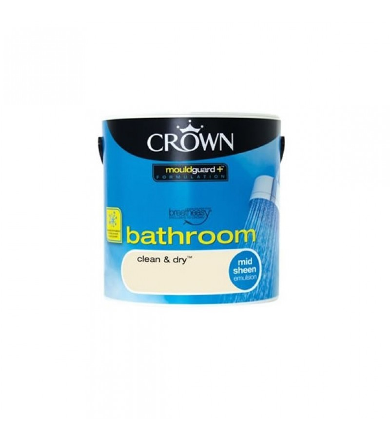 Crown Bathroom Paint 2.5L Clean & Dry (Mid-sheen)