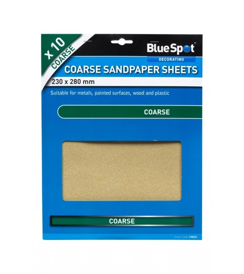 BlueSpot Coarse Sandpaper Sheets (10 Pack)