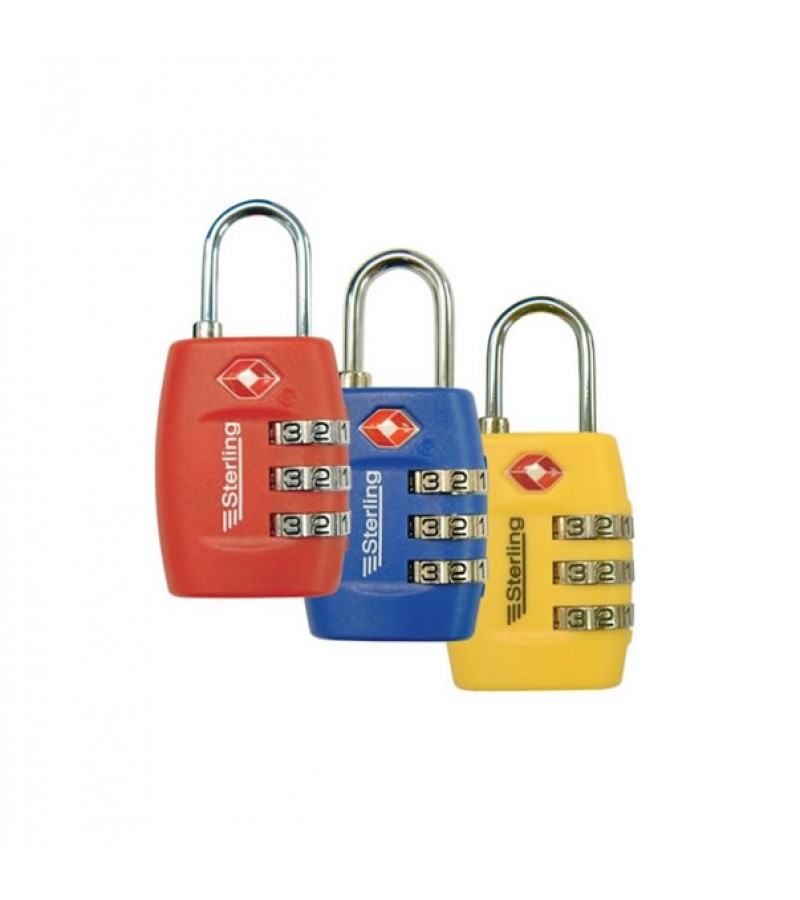 Sterling Light Security 3-Dial Combination Padlock 26mm (Assorted Colours)
