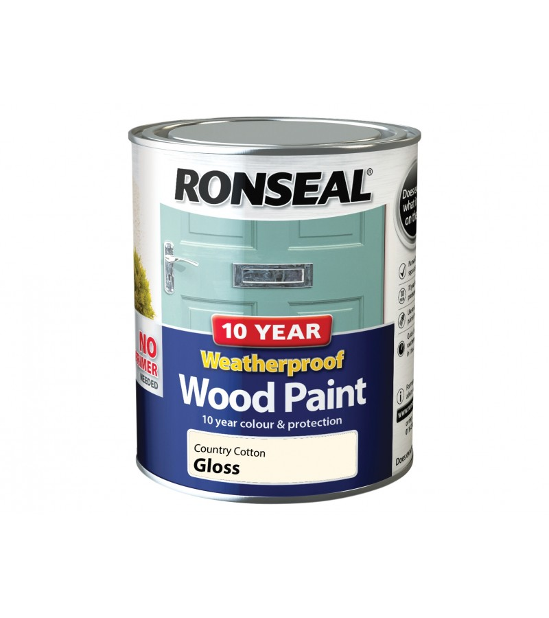 Ronseal 10 Year Wood Paint Country Cotton Gloss 750ml