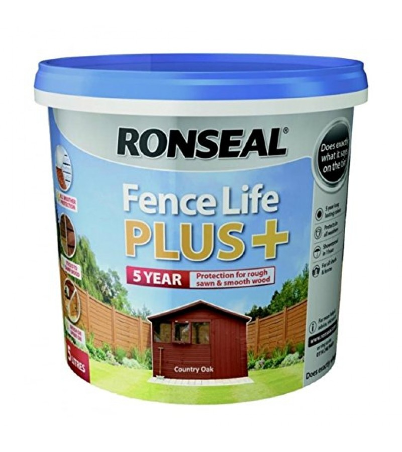 Ronseal Fence Life Plus + 5L Country Oak