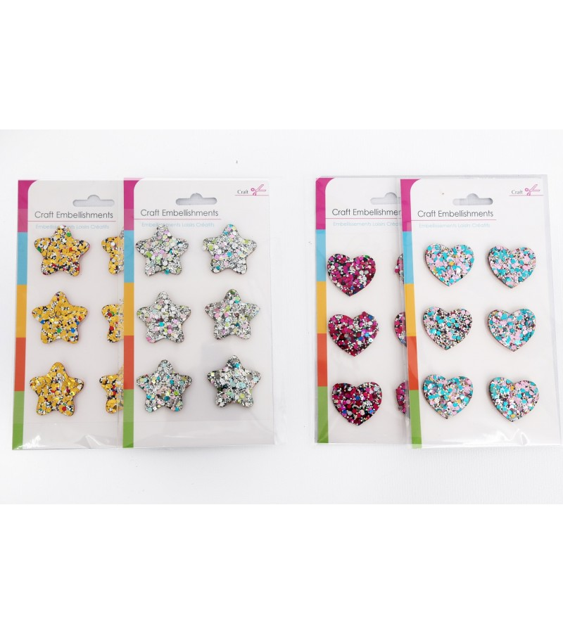 Craft Embellishments - Stars and Hearts