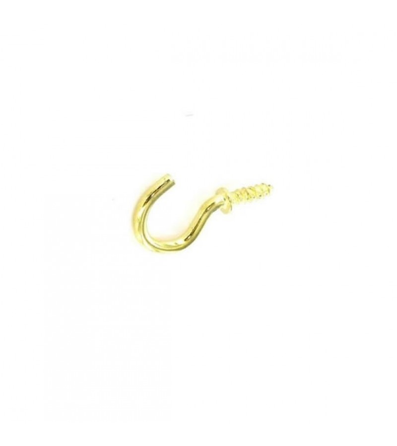 Securit S6313 Shouldered Cup Hooks Brass 32mm (5 Pack)