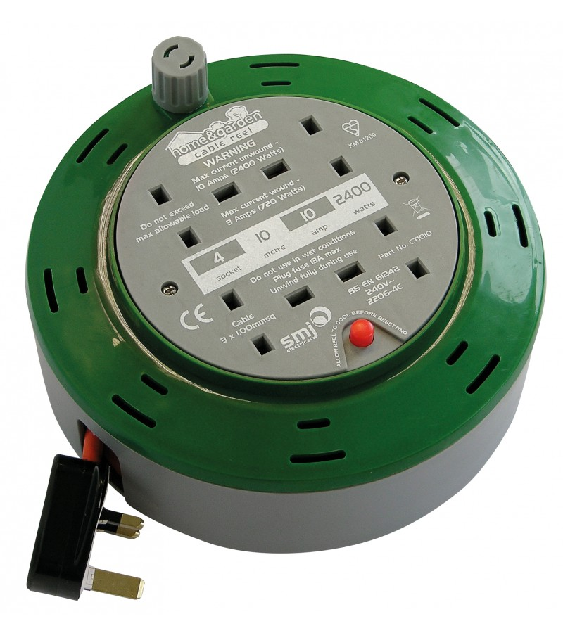 Cable Extension Reel 4 Socket 10m