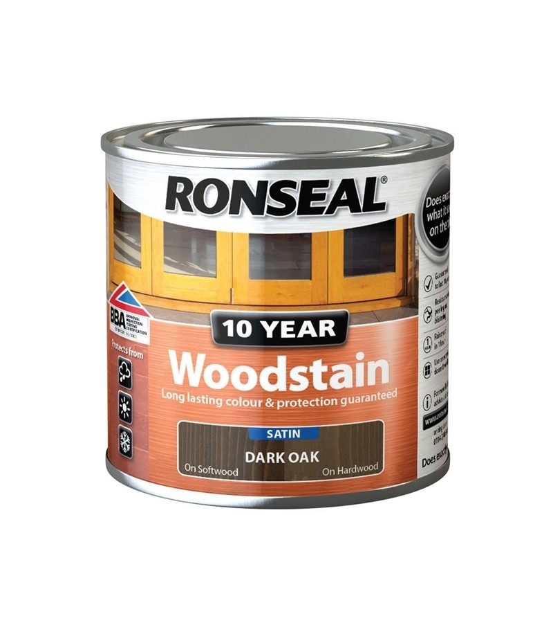 Ronseal 10 Year Woodstain Dark Oak Satin 250ml