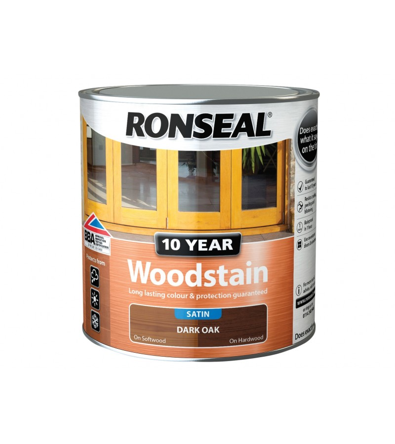Ronseal 10 Year Woodstain Satin 2.5L Dark Oak
