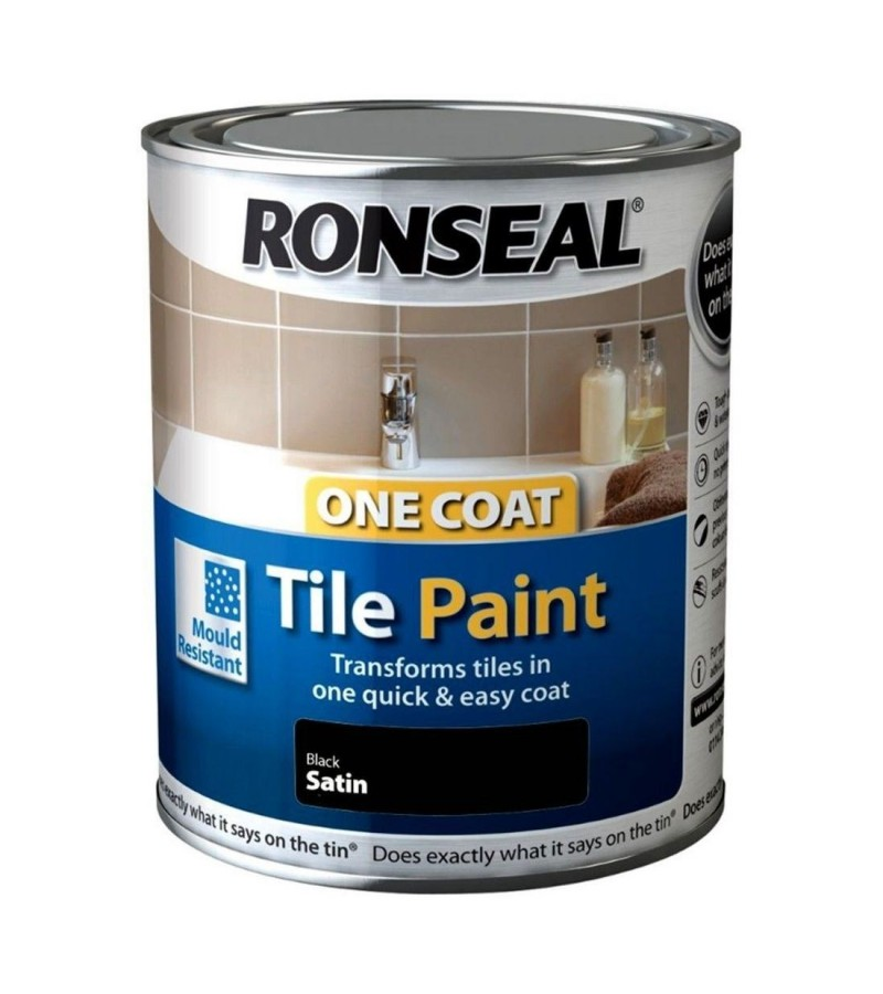 Ronseal One Coat Tile Paint  750ml Black Satin