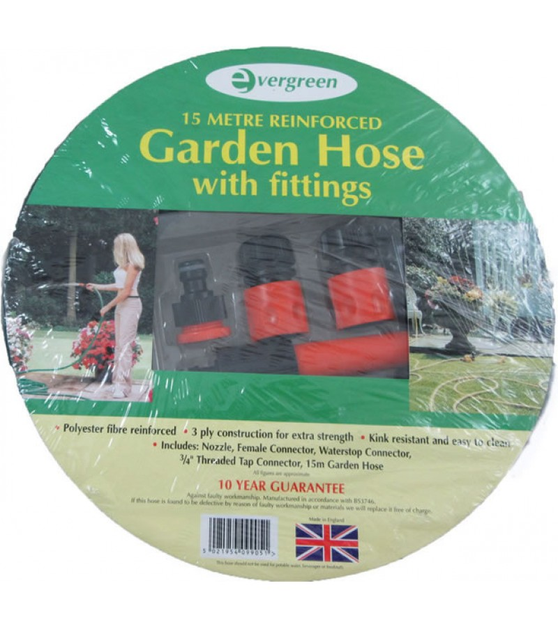Evergreen GBH15F Reinforced Garden Hose With Fittings 15m