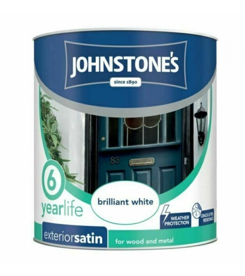 Johnstones Exterior Satin Paint 750ml Brilliant White