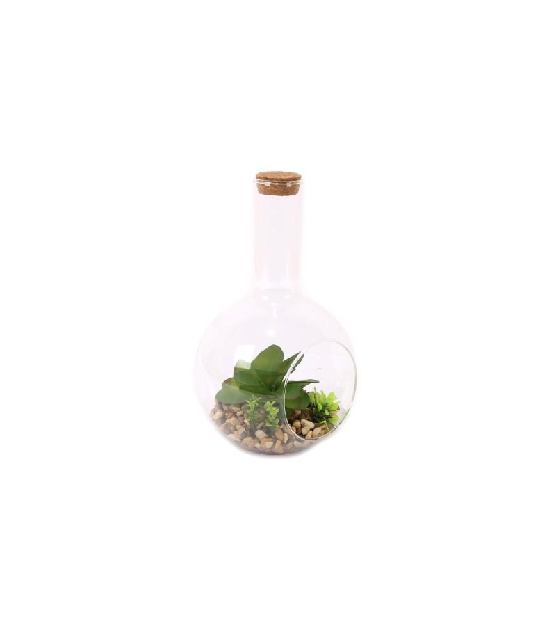 Artificial Succulent in Terrarium (19cm x 12cm)