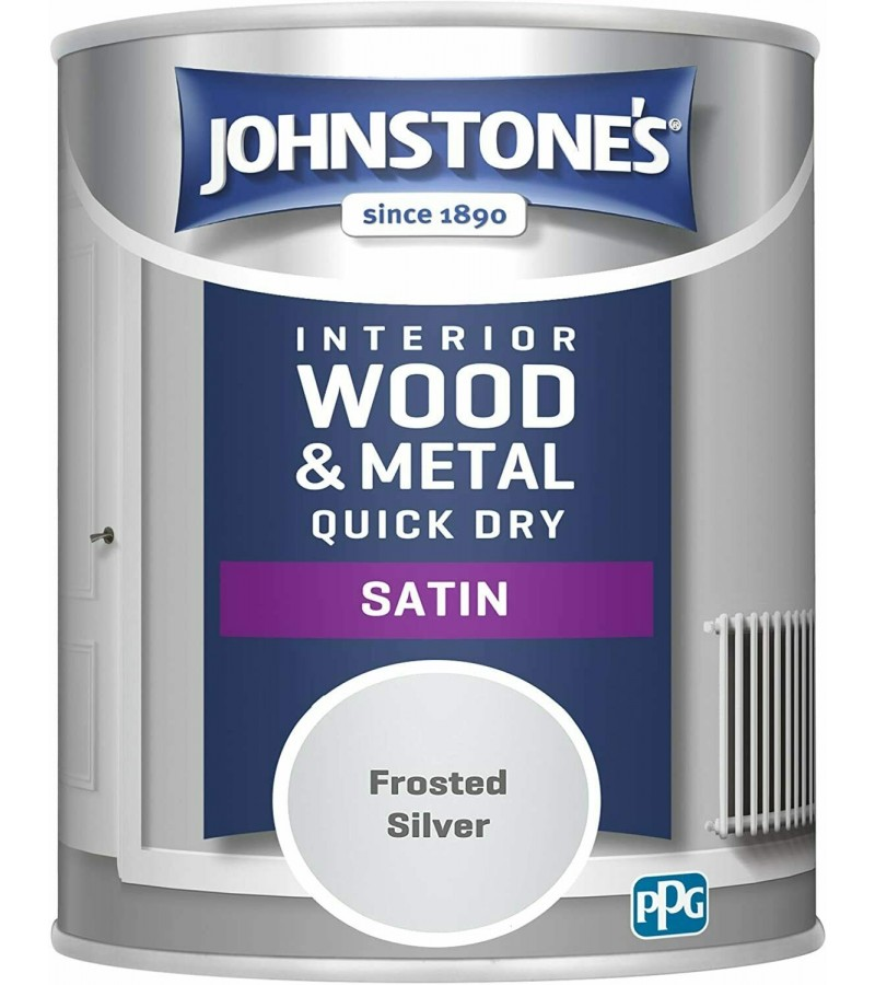 Johnstones Quick Drying Satin Paint 750ml Frosted Silver