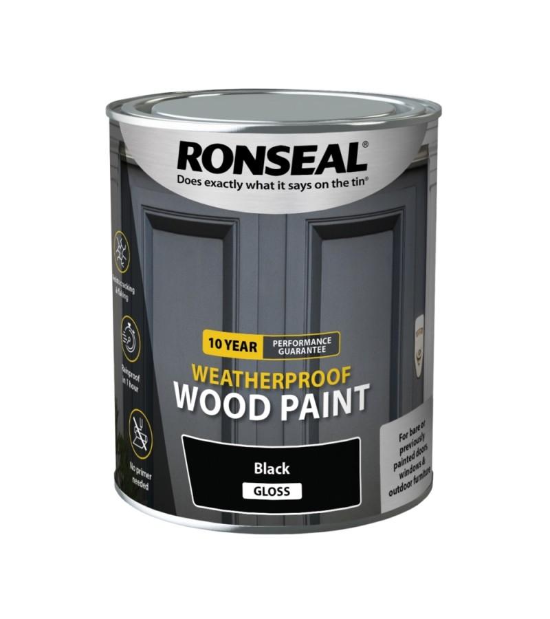 Ronseal 10 Year Weatherproof Wood Paint 750ml Black Gloss