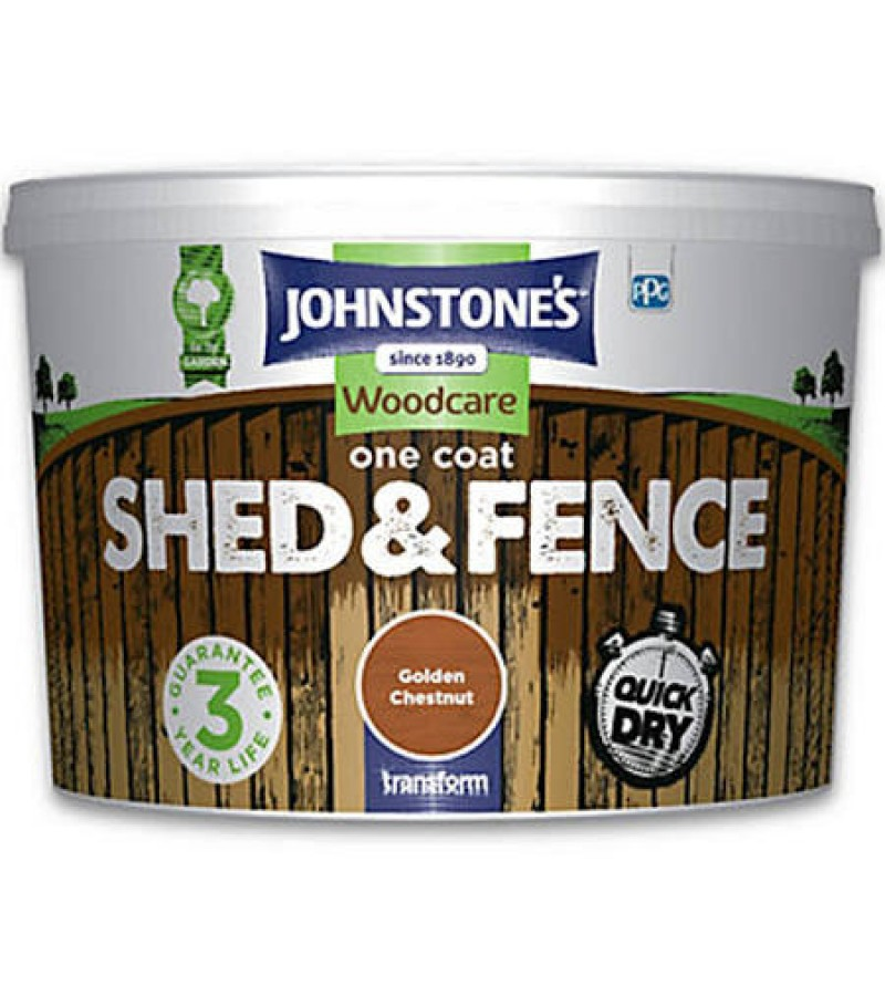 Johnstones One Coat Shed & Fence Paint 5L Golden Chestnut